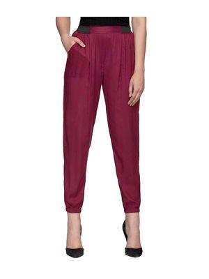 Maroon Elasticated Solid Pants