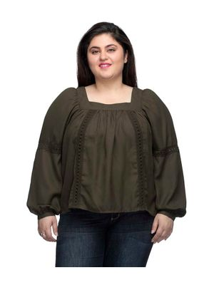 Brown Solid Pleated Top With Lace Detail