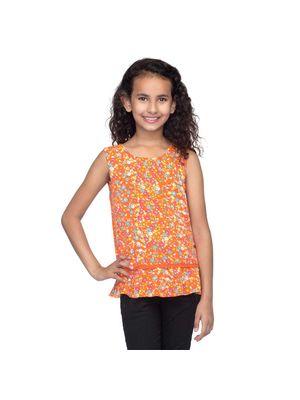 Girls Orange Sleeveless Top