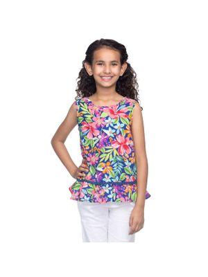 Girls Multicolor Floral Top