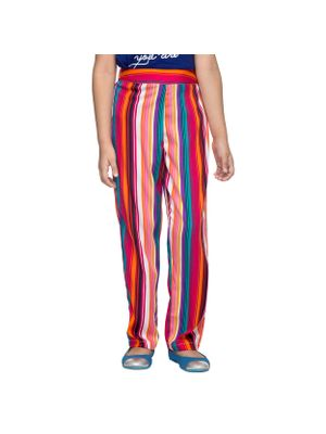 Girls Multicolor Striped Trousers