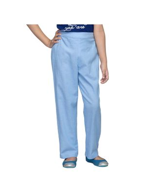 Girls Solid Blue Trousers