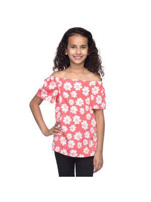Girls Floral Off-Shoulder Top