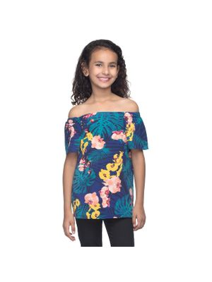 Girls Off-Shoulder Tropical Top