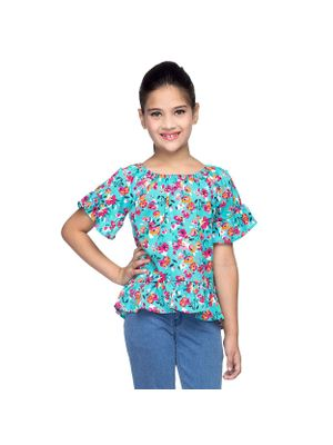 Girls Floral Printed Top With Frills