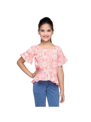 Girls Abstract Print Top With Frills