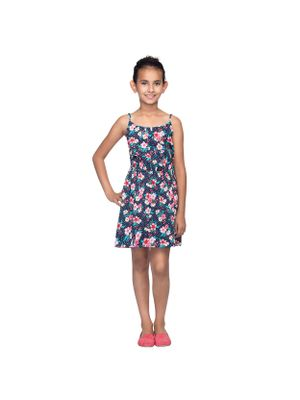 Girls Floral Printed Strap Dress