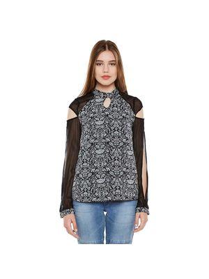 Black Printed Long Sleeve Top