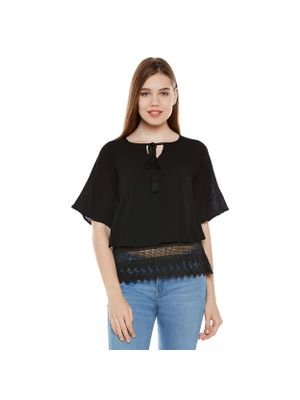 Black Lace Top With Tussles