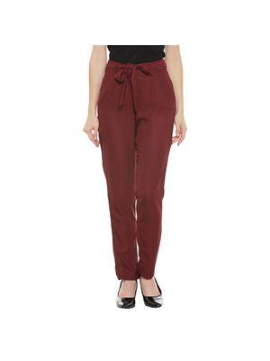 Maroon Belted Pants
