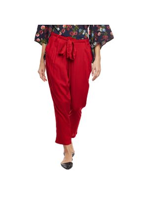Solid Red Belted Pants