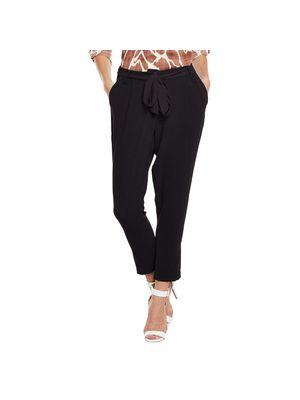 Solid Black Belted Pants