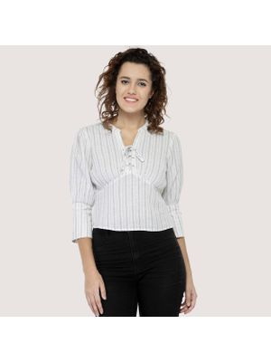 Striped Tie-up Top