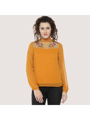 Mustard Embroidered Top
