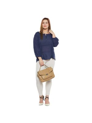 Navy Solid Plus Size Top