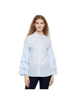 Bell Sleeve Collared Shirt