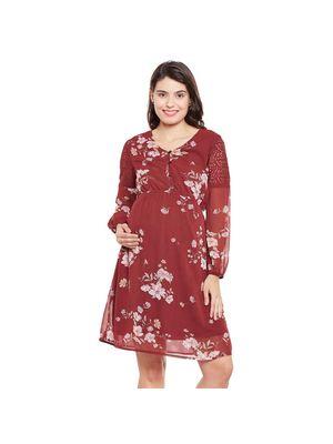 Maternity Floral  Sleeve Dress