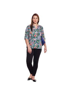 Tropical Print Plus Size Shirt
