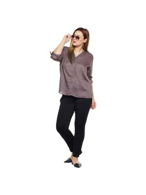 Grey Shirt Style Plus Size Shirt