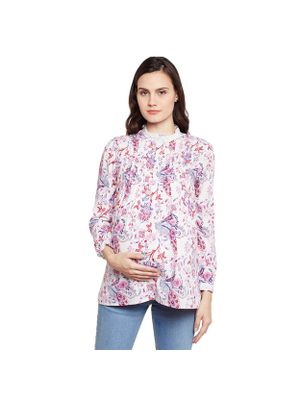 Maternity Floral Pleated  Top