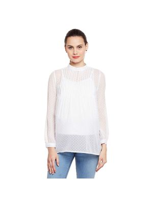 Maternity White Pleated Top