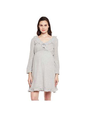 Maternity Ruffle Solid Dress