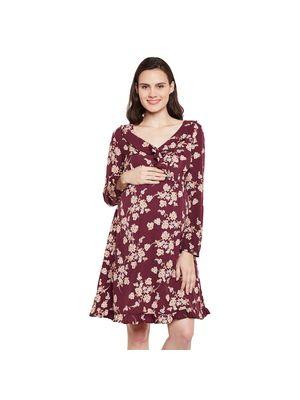 Ruffled Maternity Floral Dress