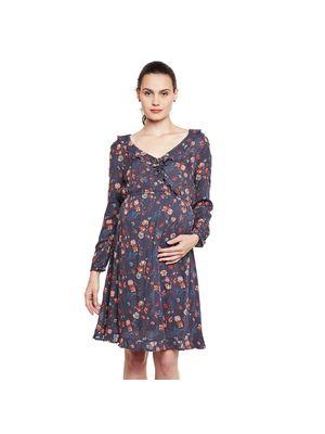 Ruffled Maternity Printed Dress