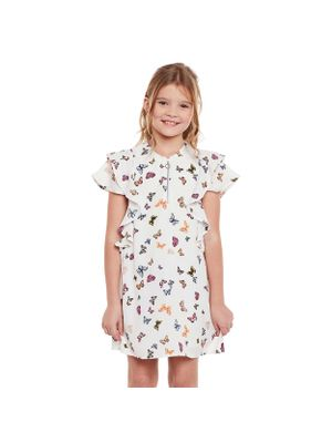 Girls Printed Frill Zip Detail Dress