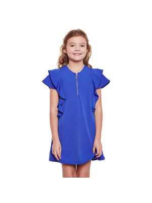 Girls Solid Frill Zip Detail Dress