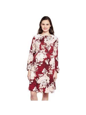 Floral Maternity Cuff Dress