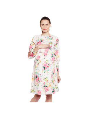 Floral Maternity Ruffled  Dress