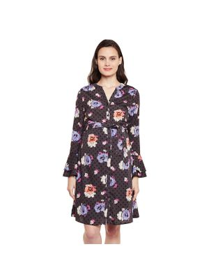 Floral Bell Sleeve Maternity Dress