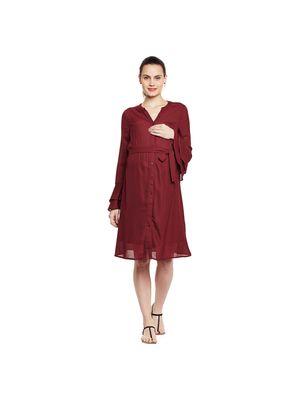 Maternity Belted Ruffle Cuff Dress