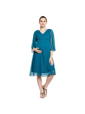 Solid Flared Maternity Dress