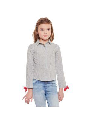 Girls Textured Knot Detail Shirt