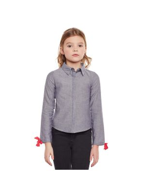 Girls Solid Grey Knot Detail Shirt