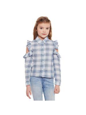 Girls Frill Detail Cut Sleeve Shirt