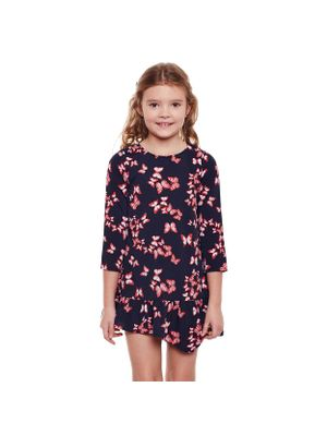 Girls Printed Frill Hemline Dress