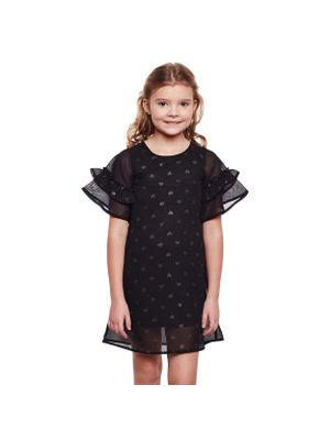 Girls Sheer Sleeve Detail Shift Dress