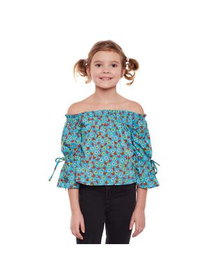 Girls Floral Off Shoulder Tie Detail Top
