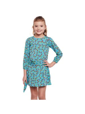 Girls Floral Belted Shift Dress