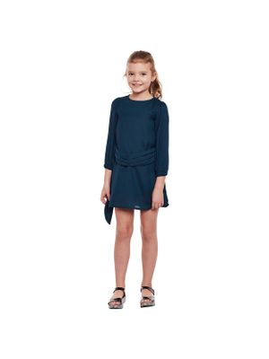 Girls Solid Tone Belted Shift Dress
