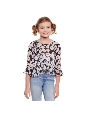 Girls Floral Stylised Sleeve Top