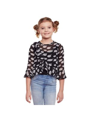 Girls Dialogue Printed Stylised Sleeve Top