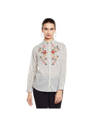 Floral Embroidered Cotton Shirt