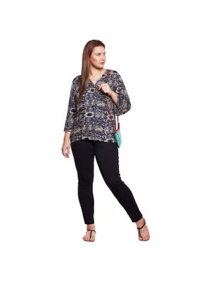 Abstract Print Plus Size Top