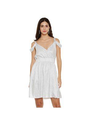 Silver Cold-Shoulder Foil Dress