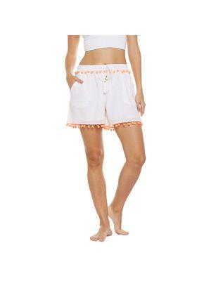 Beach Wear Shorts with Orange Pom-Pom