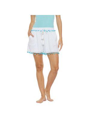 Beach Wear Shorts with Blue Pom-Pom